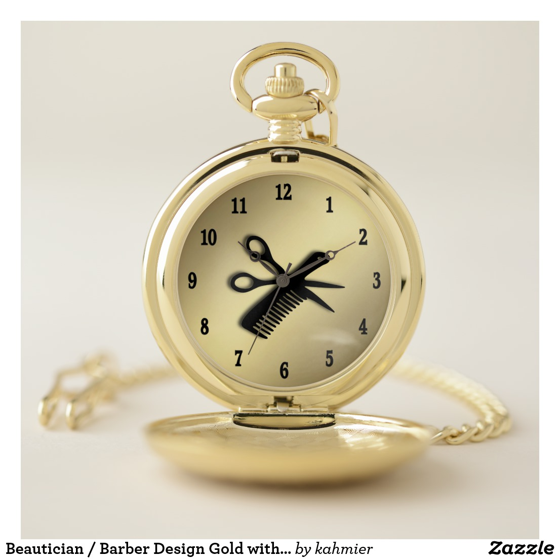 Beautician / Barber Design Gold with Black Numbers Pocket Watch