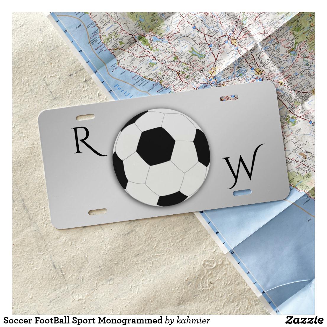 Soccer FootBall Sport Monogrammed License Plate