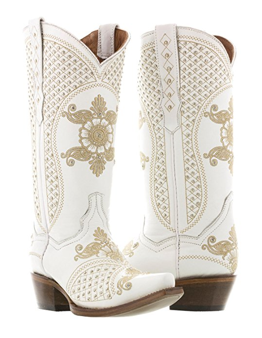 Cowboy Professional Women's White Marfil Wedding Studded Cowboy Boots Snip Toe 10.5 BM