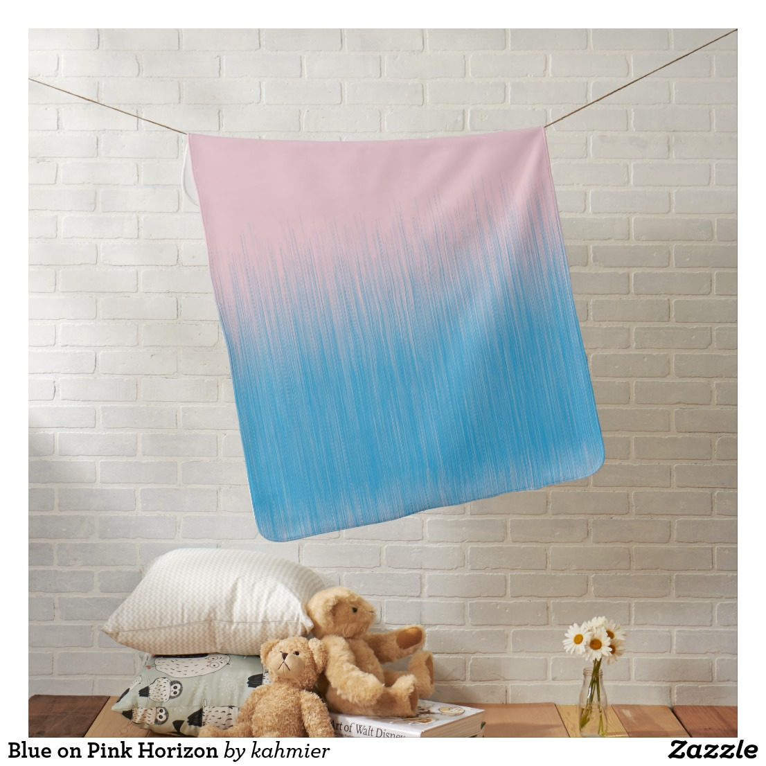 Blue on Pink Horizon Baby Blanket