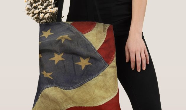 Distressed American Flag Tote Bag