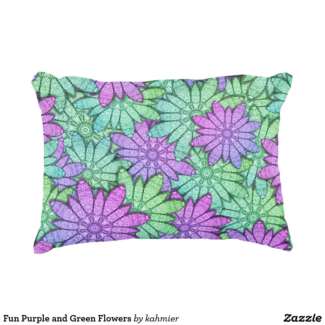 Fun Purple and Green Flowers Accent Pillow