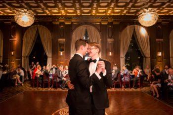 Gay Wedding grooms dancing