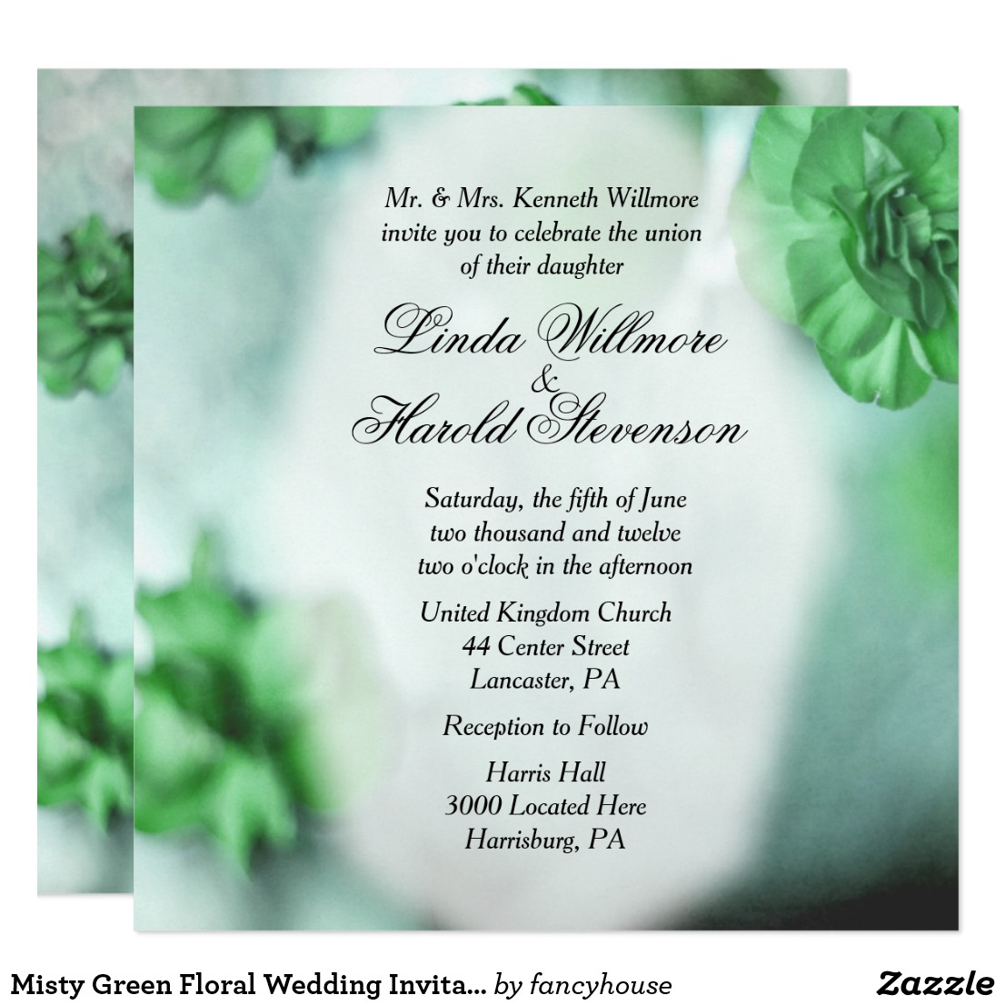 Misty Green Floral Wedding Invitations