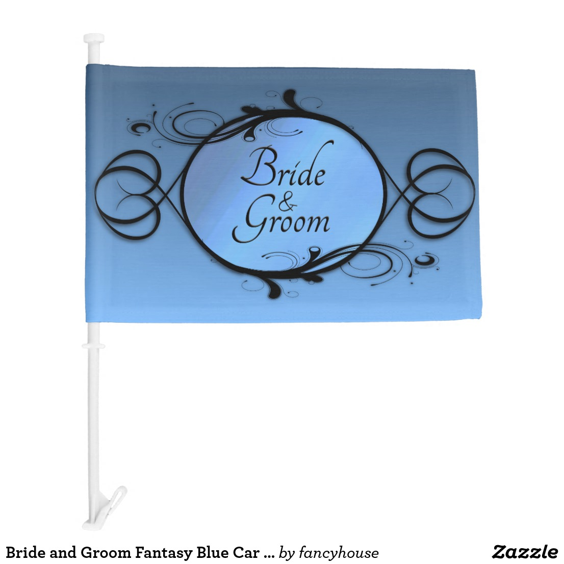 Bride and Groom Fantasy Blue Car Flag