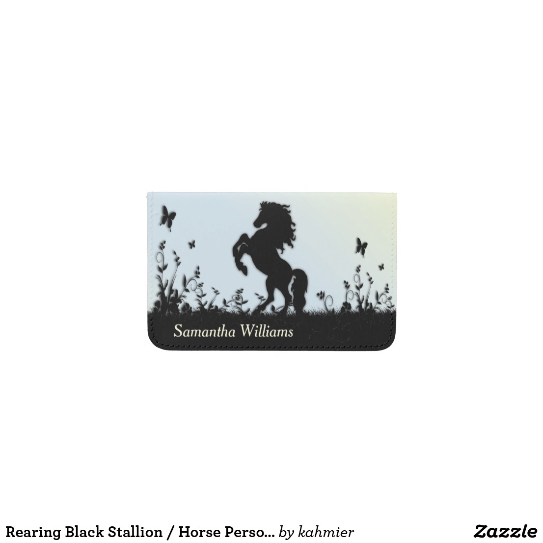 Rearing Black Stallion / Horse Personal Business Card Holder
