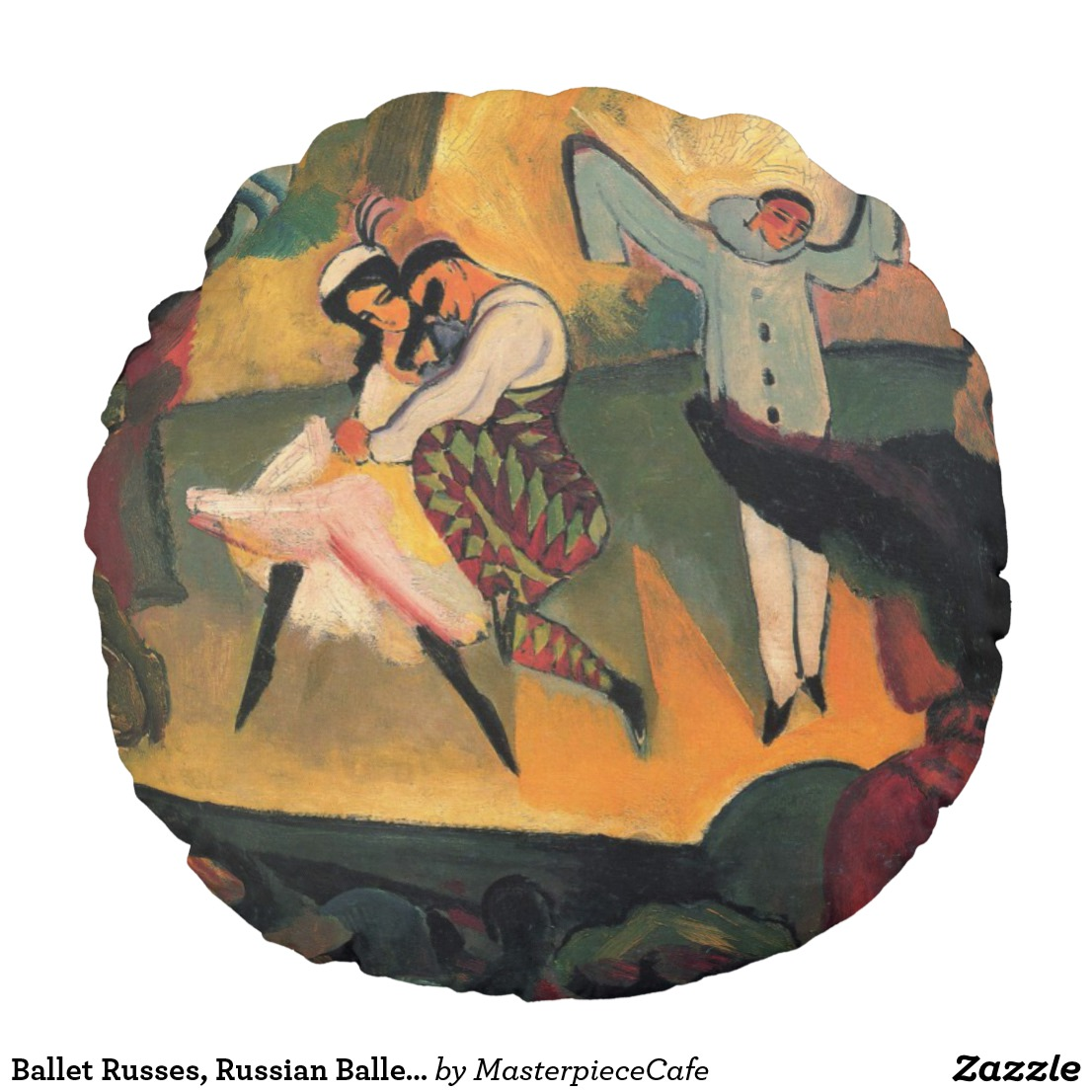Ballet Russes, Russian Ballet by August Macke Round Pillow