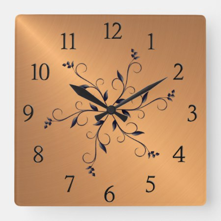 Copper Shine Black Numbers and Accents Square Wall Clock