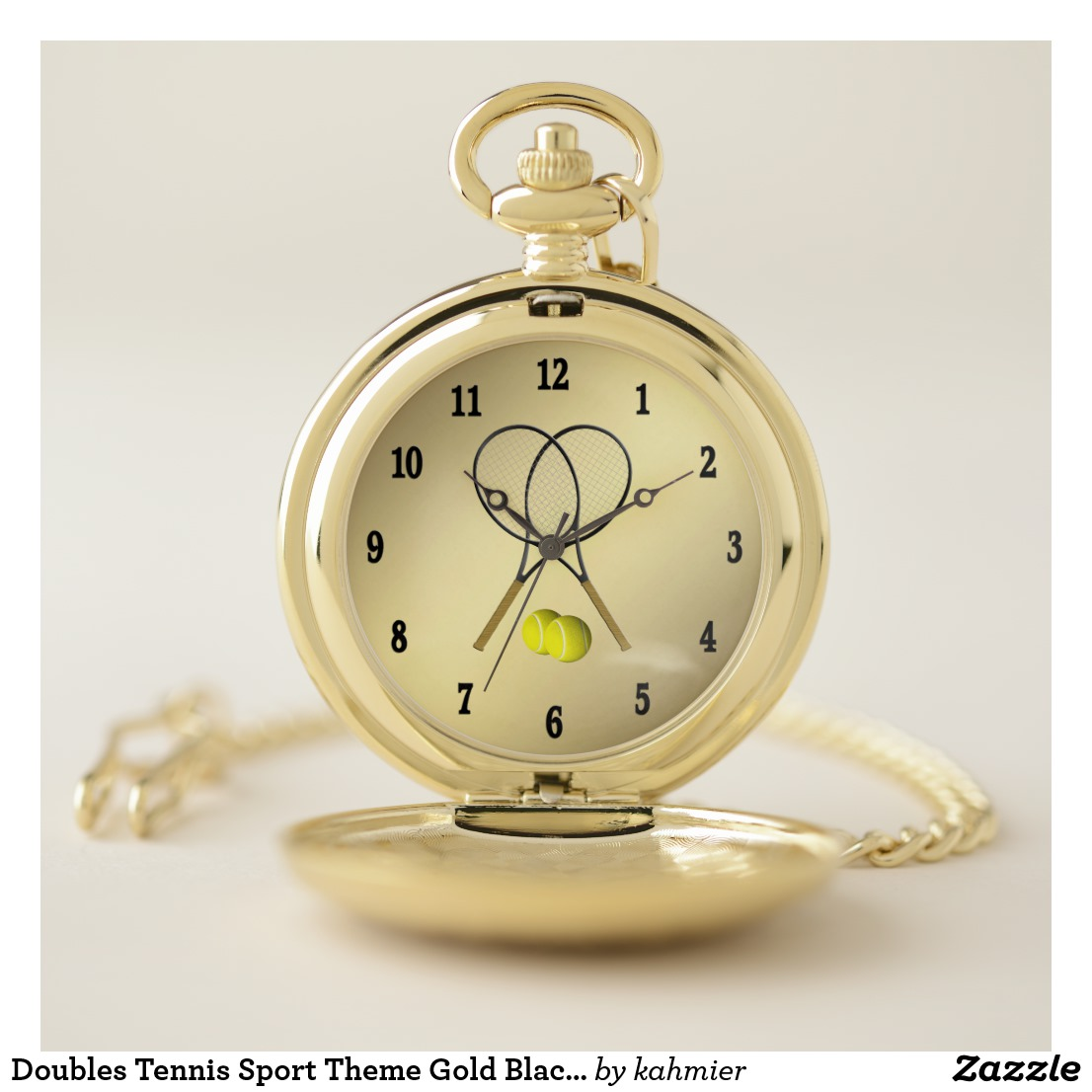 Doubles Tennis Sport Theme Gold Black Numbers Pocket Watch