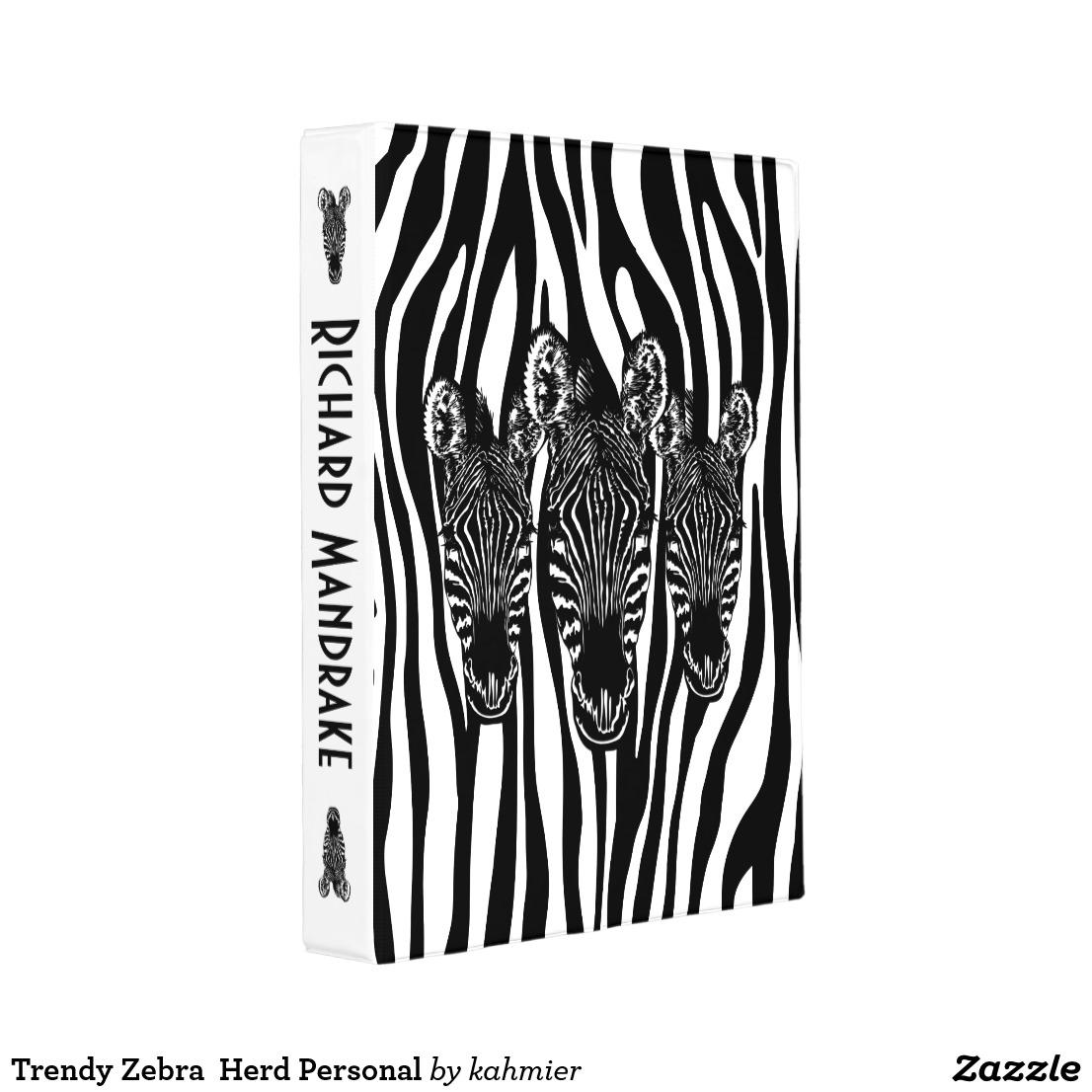 Trendy Zebra Herd Personal Mini Binder