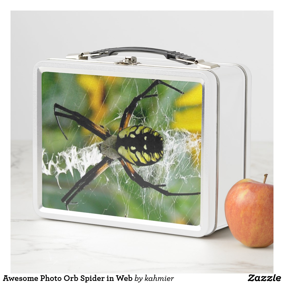 Awesome Photo Orb Spider in Web Metal Lunch Box