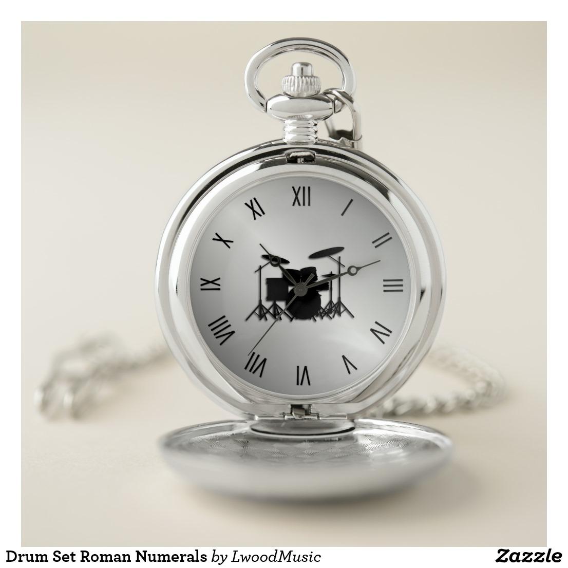 Drum Set Roman Numerals Pocket Watch