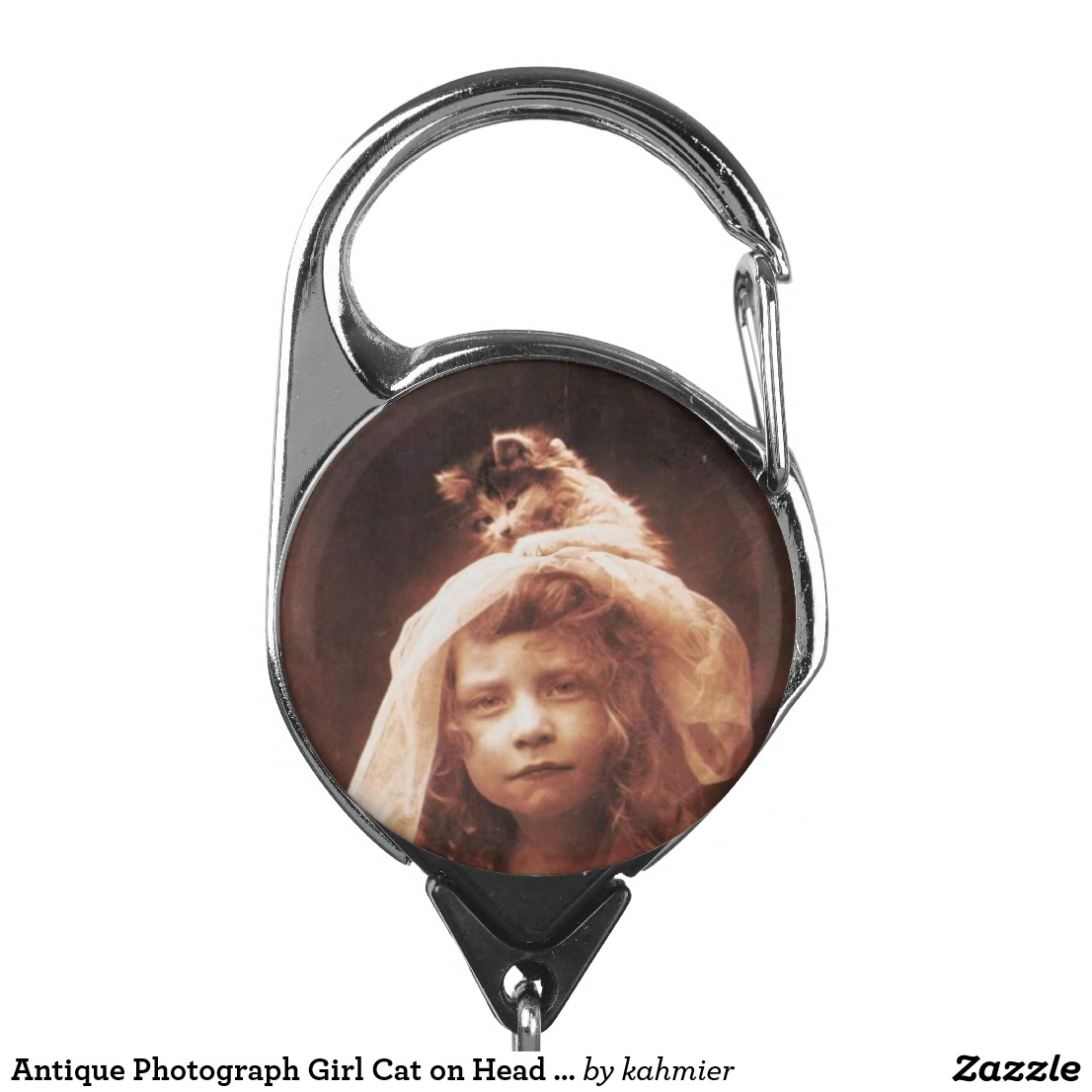 Antique Photograph Girl Cat on Head Funny Badge Holder
