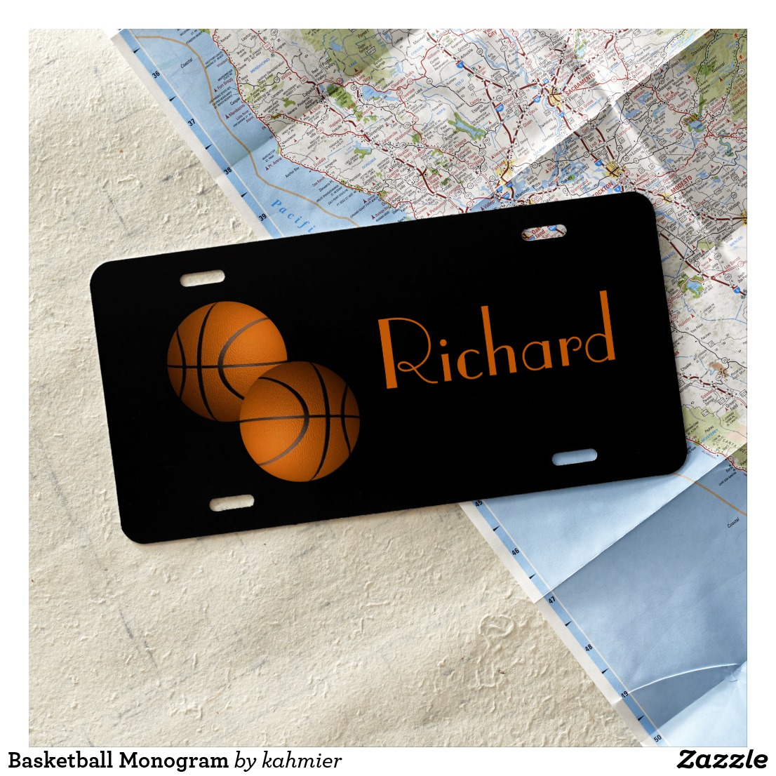 Basketball Monogram License Plate