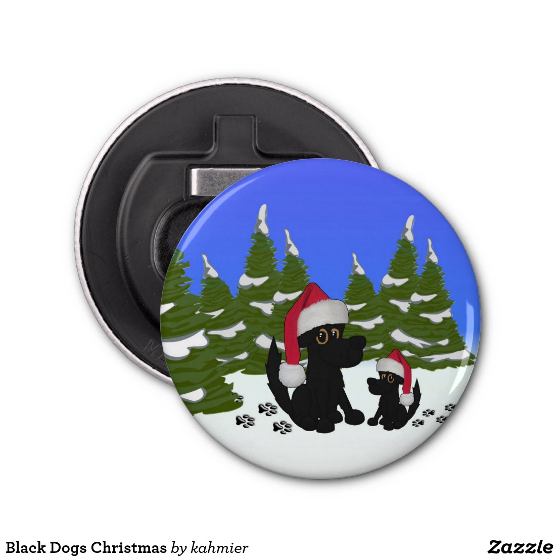 Black Dogs Christmas Bottle Opener