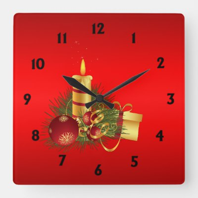 Red Christmas with Black Numbers Square Wall Clock