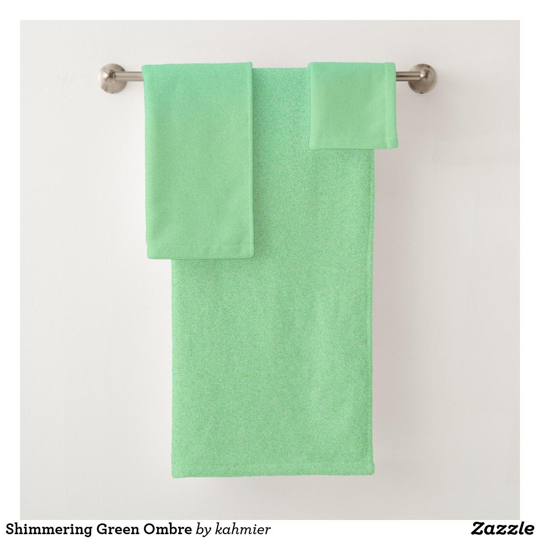 Shimmering Green Ombre Bath Towel Set