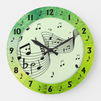 Trendy Music Green Round Wall Large Clock
