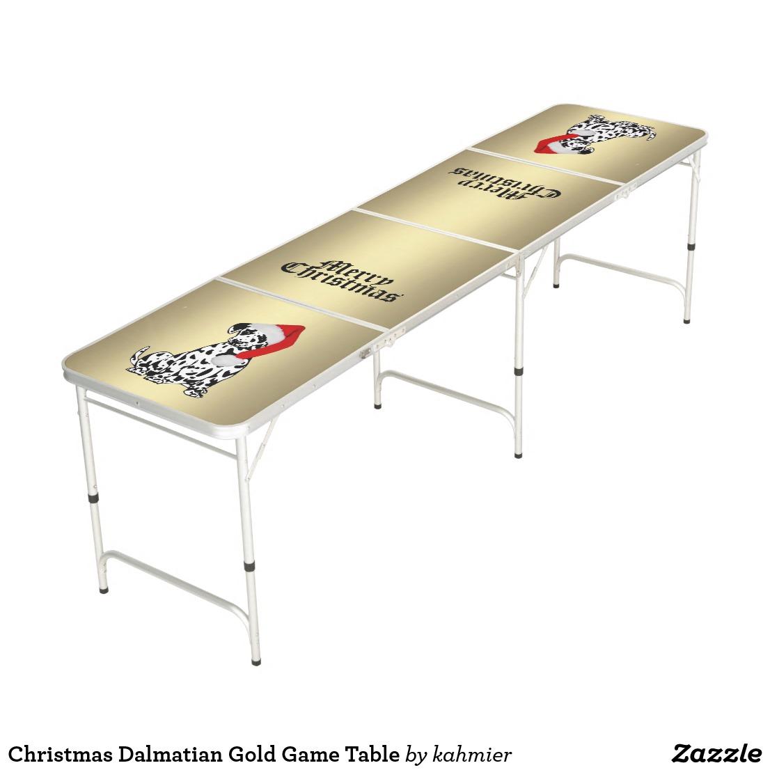 Christmas Dalmatian Gold Game Table