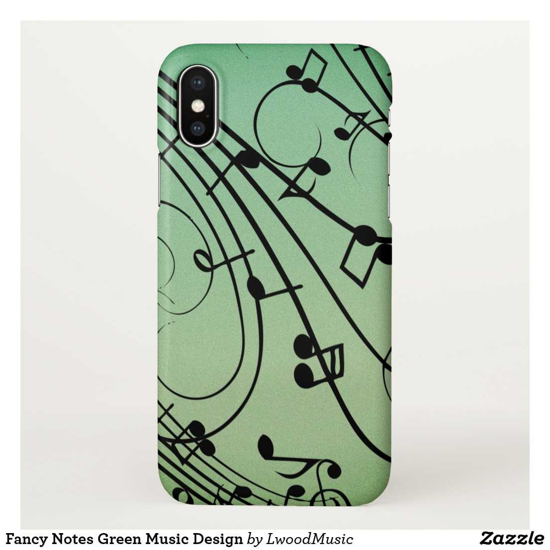Fancy Notes Green Music Design iPhone X Case