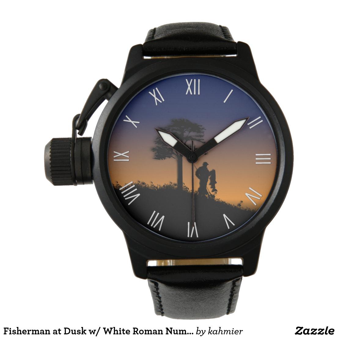 Fisherman at Dusk w/ White Roman Numerals Watch