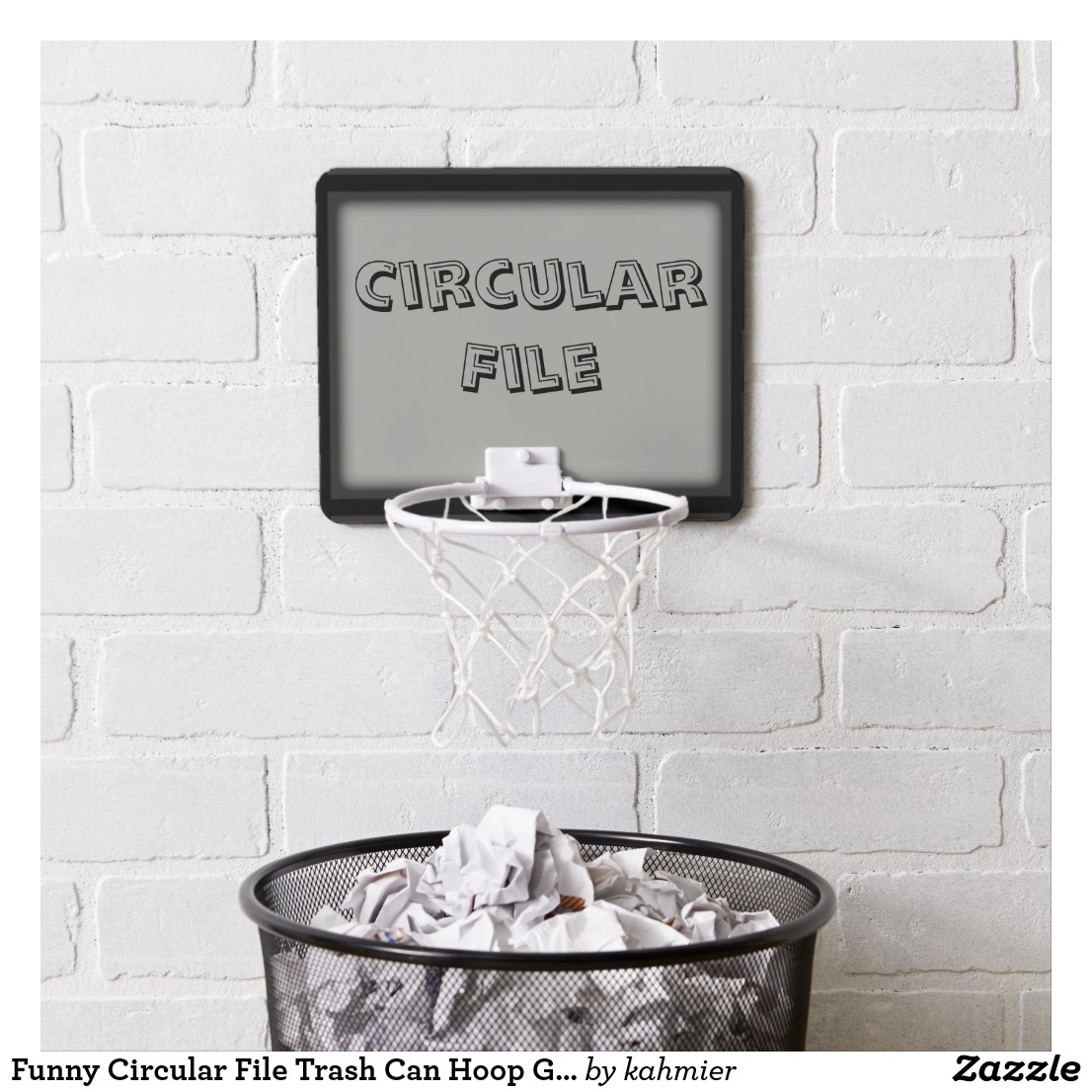Funny Circular File Trash Can Hoop Gray