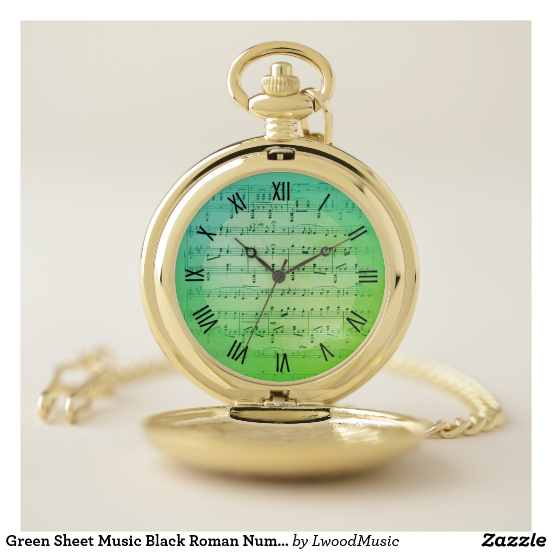 Green Sheet Music Black Roman Numerals Pocket Watch