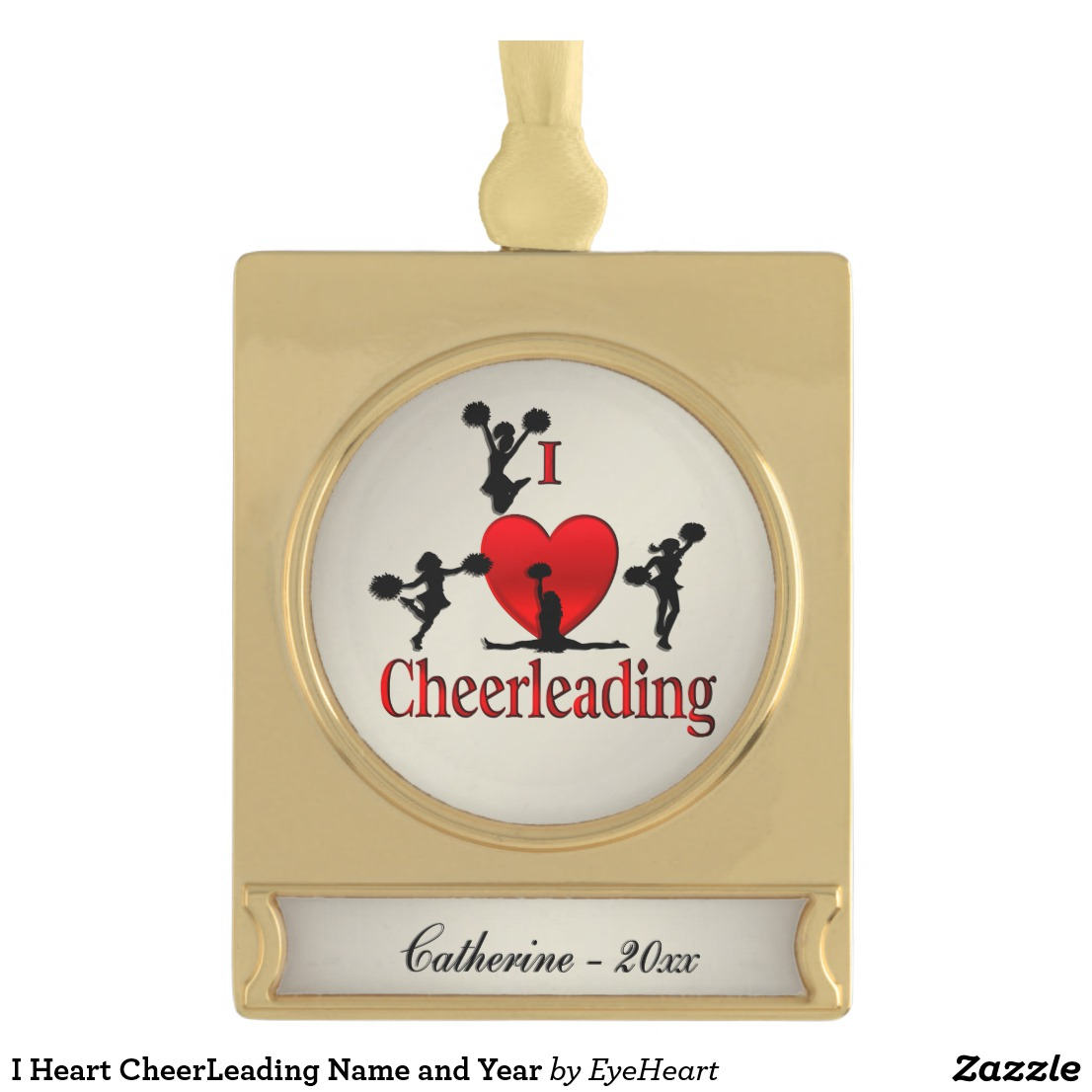 I Heart CheerLeading Name and Year Gold Plated Banner Ornament