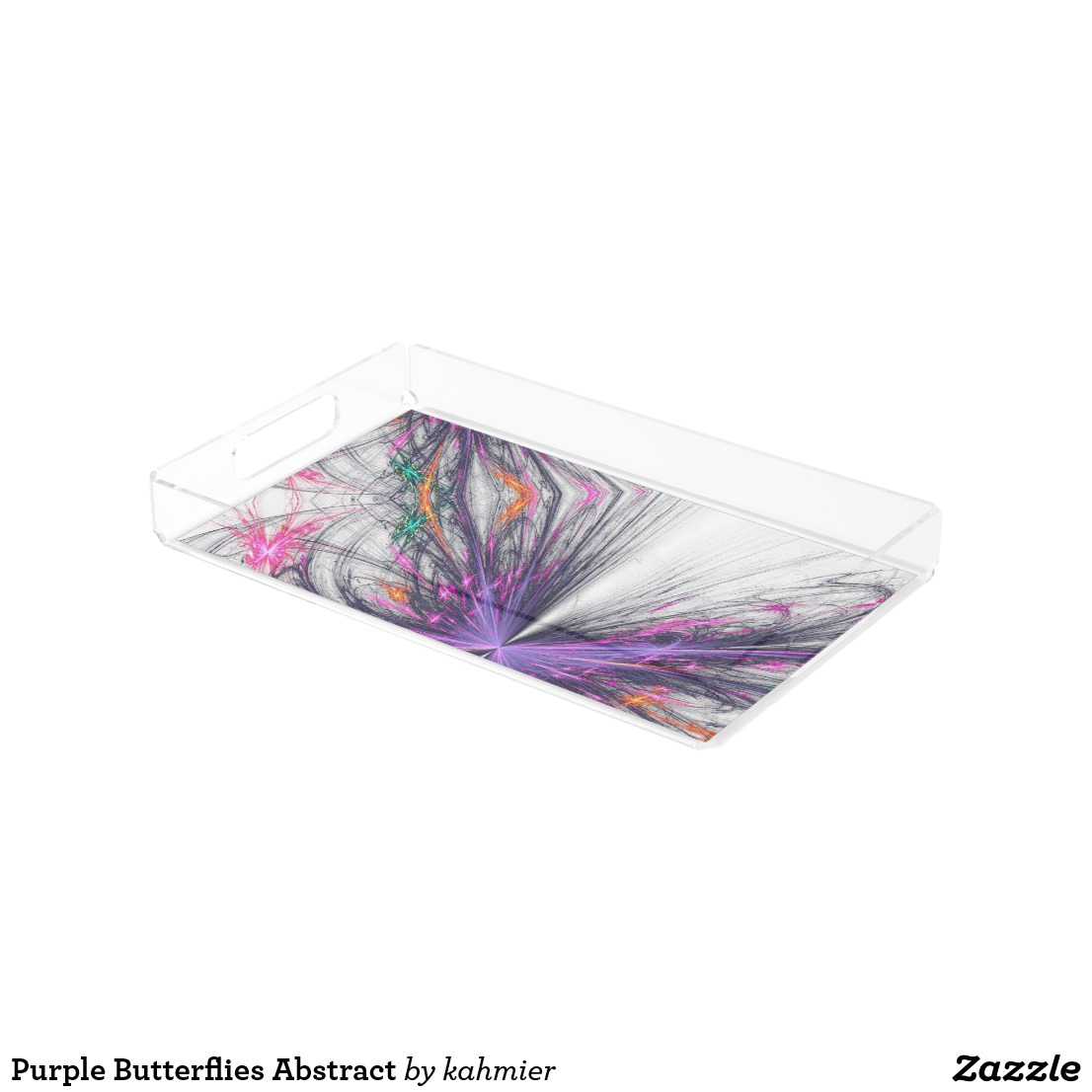 Purple Butterflies Abstract Acrylic Tray
