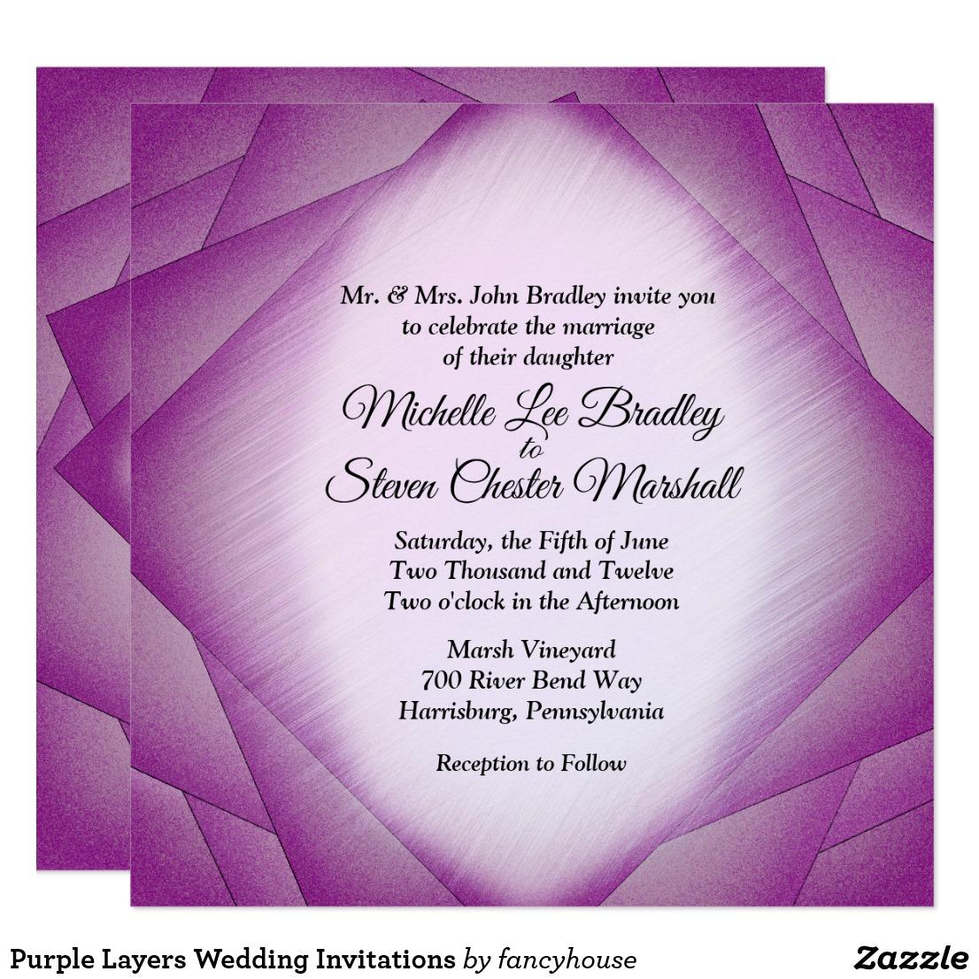 Purple Layers Wedding Invitations