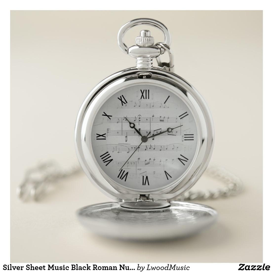 Silver Sheet Music Black Roman Numerals Pocket Watch