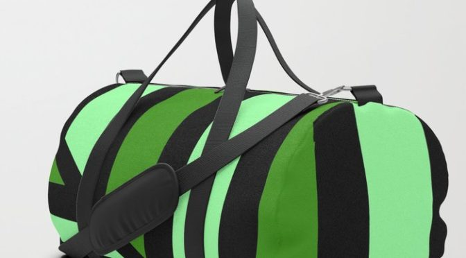 Awesome Green Perspective Line Art Duffle Bag