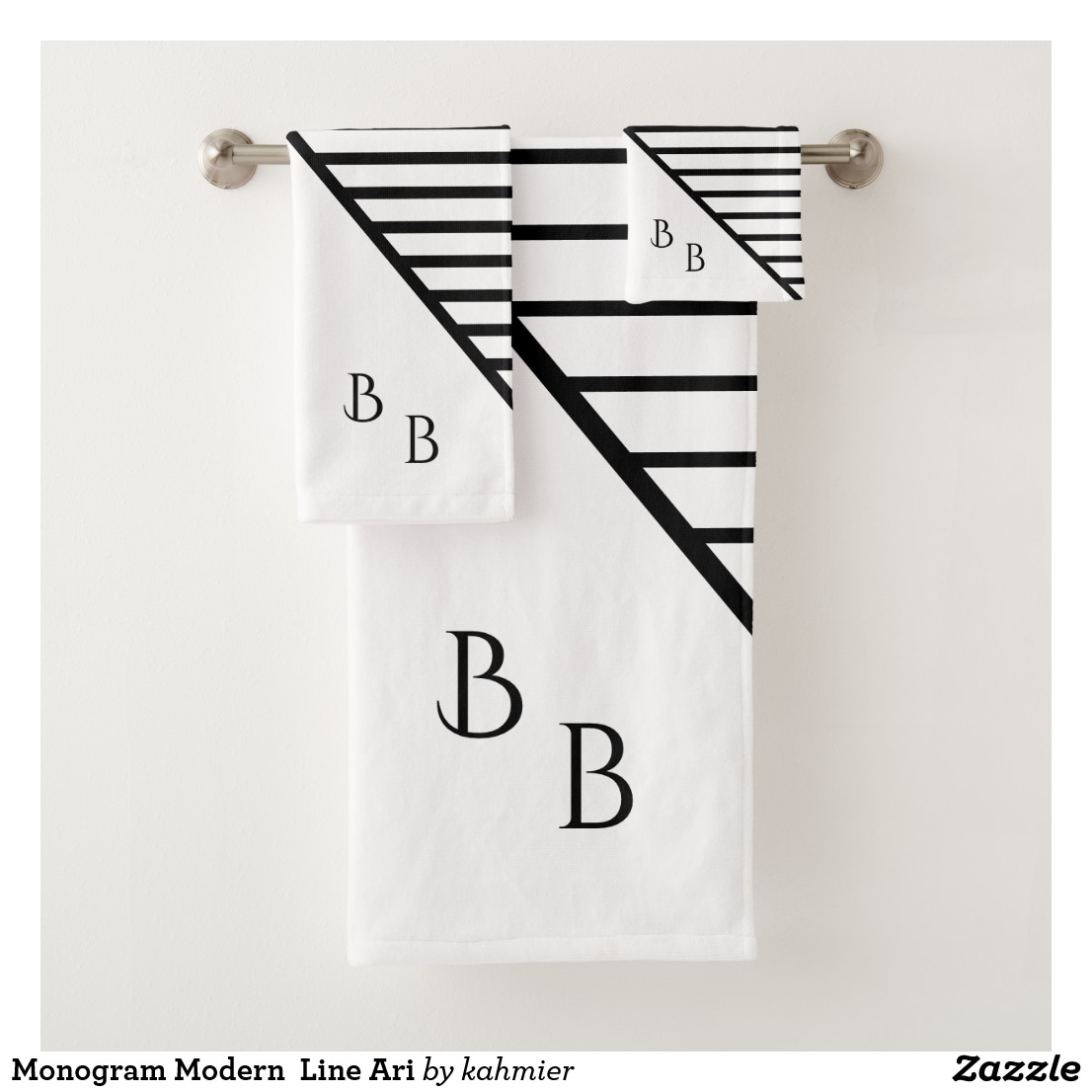 Monogram Modern Line Ari Bath Towel Set