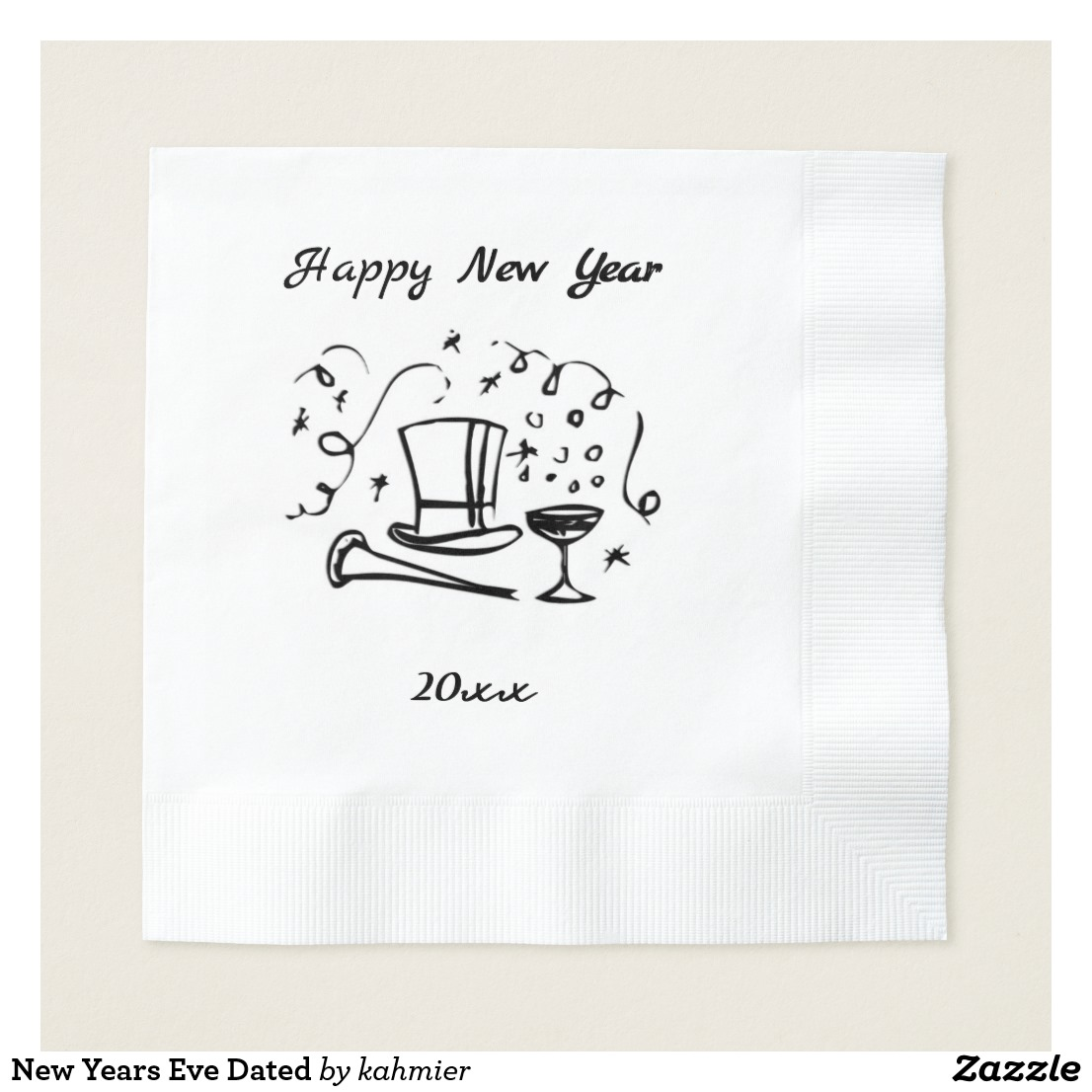 New Years Eve Dated Napkin