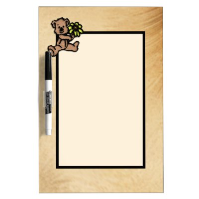 Rustic Daisy Bear Design Dry Erase Board