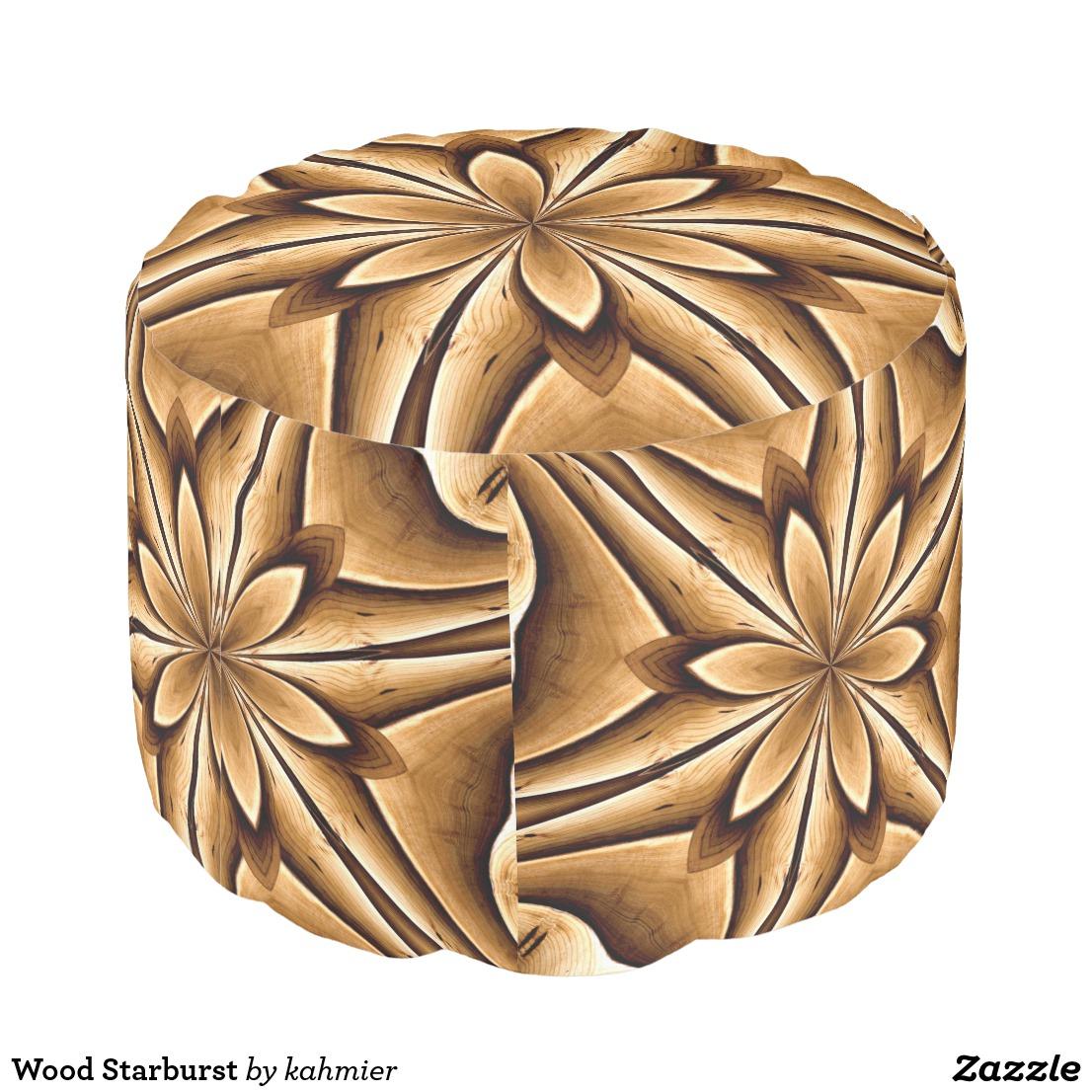 Wood Starburst Pouf