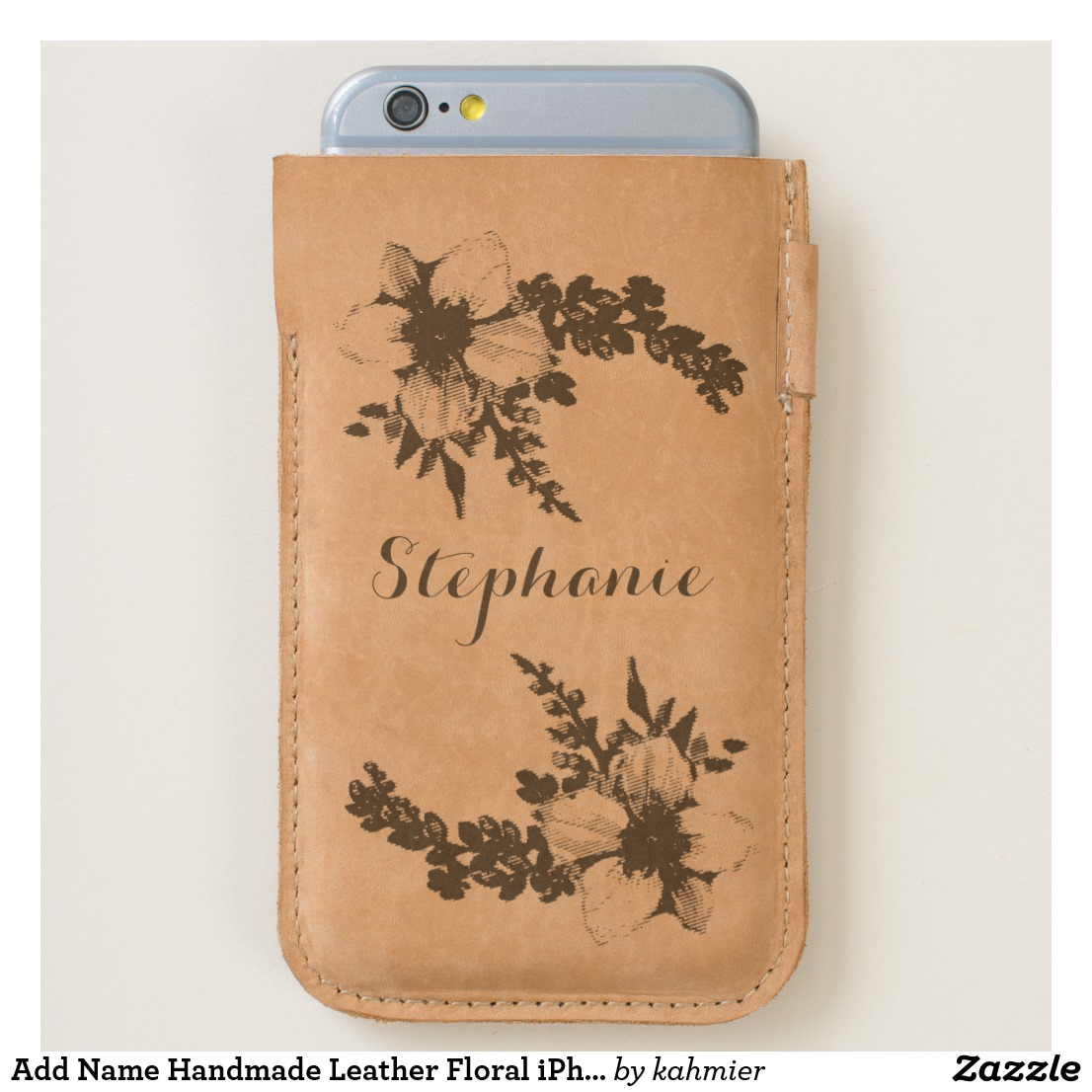Add Name Handmade Leather Floral iPhone Case