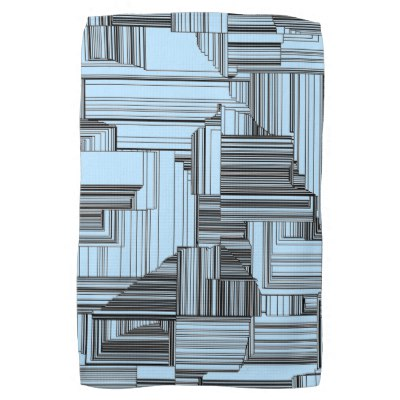 Black and Blue Art Deco Design Kitchen Towel