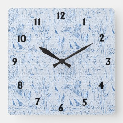Blue Crinkle Texture Square Wall Clock