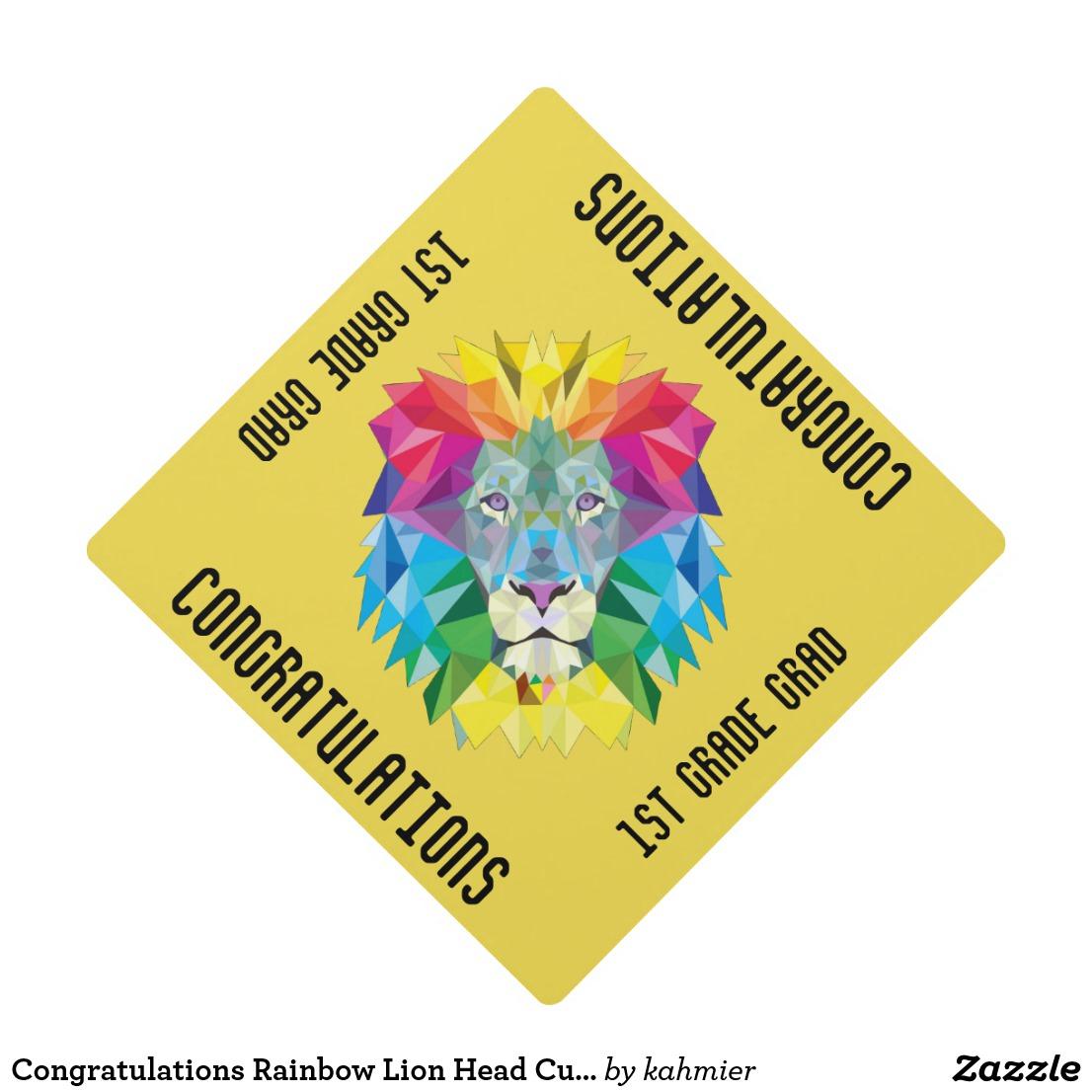 Congratulations Rainbow Lion Head Custom Text Graduation Cap Topper