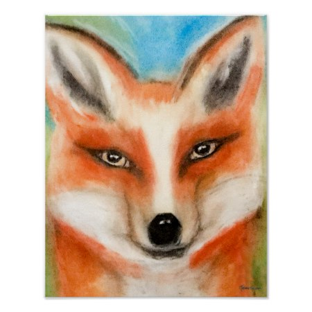 Cute Red Fox Chalk Pastel Pastel Whimsical Fun Art Poster