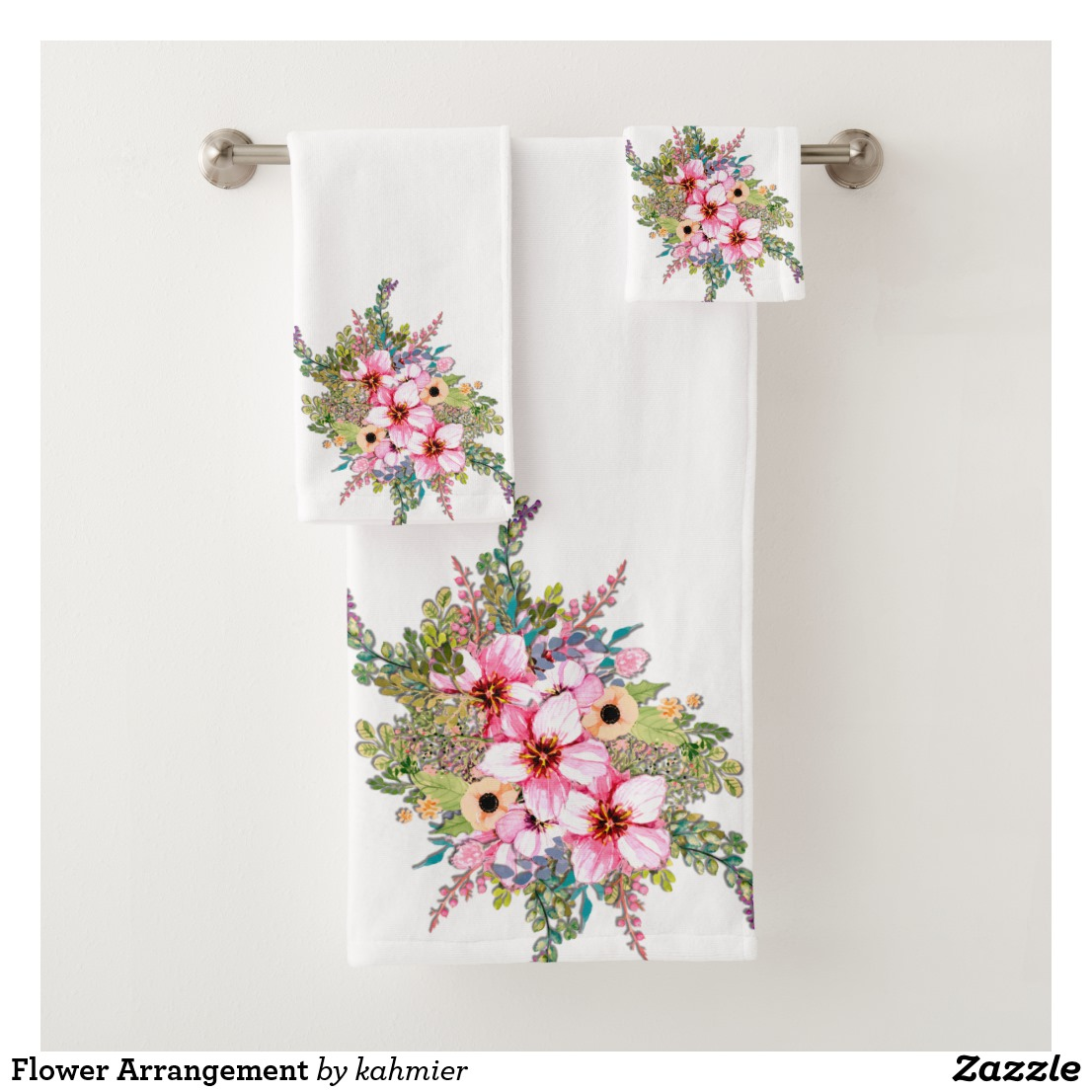 Flower Arrangement Bath Towel Set