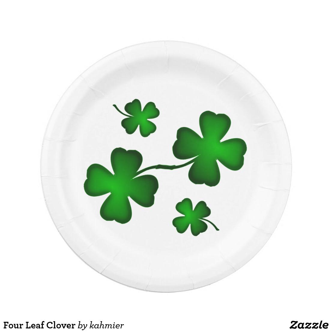 Four Leaf Clover Paper Plate