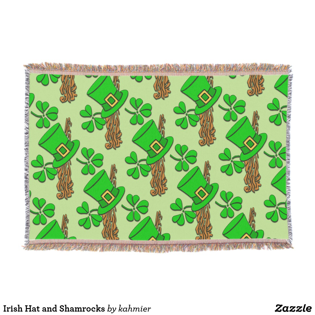 Irish Hat and Shamrocks Throw