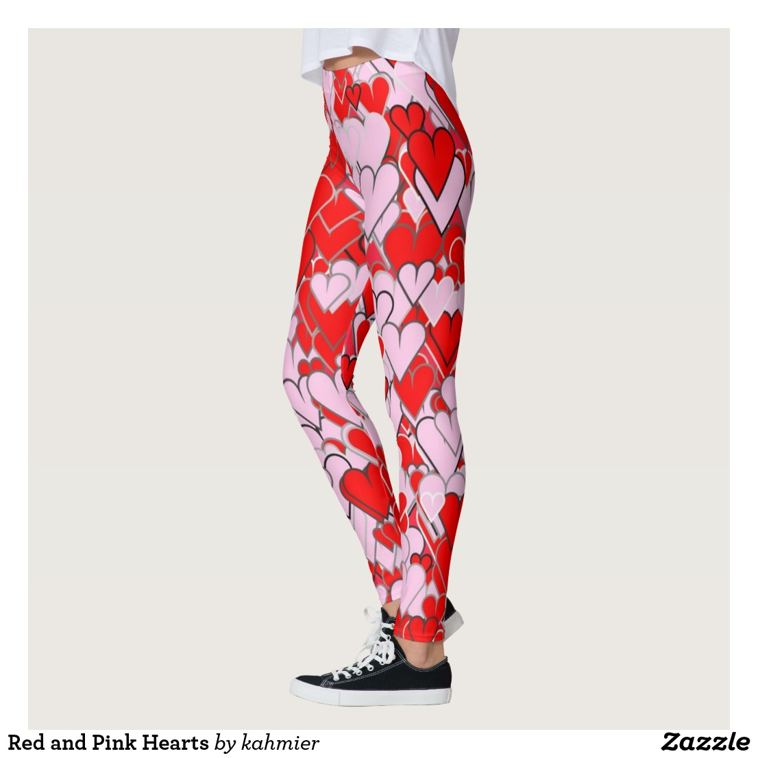 Red and Pink Hearts Leggings