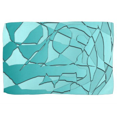Shattered Teal Hand Towel