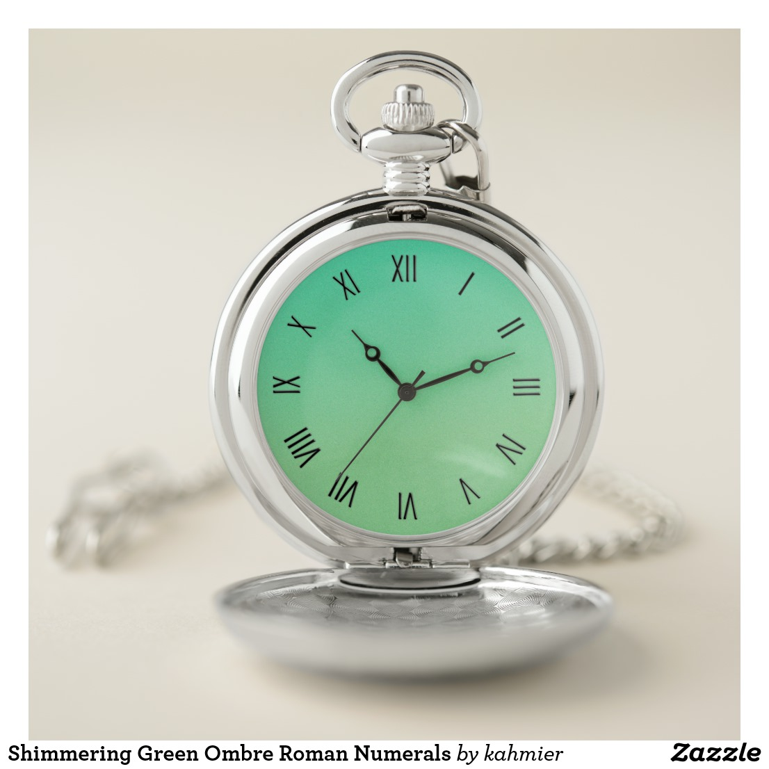 Shimmering Green Ombre Roman Numerals Pocket Watch