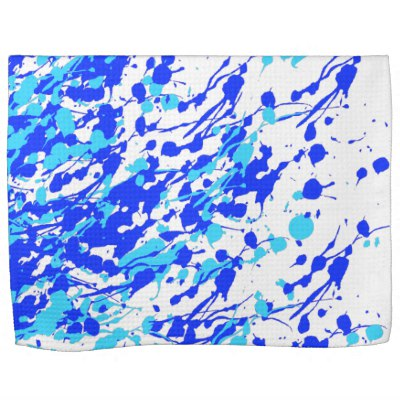 Splashes of Paint Blue Kitchen Towel