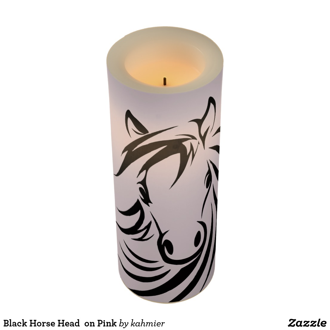 Black Horse Head on Pink Flameless Candle