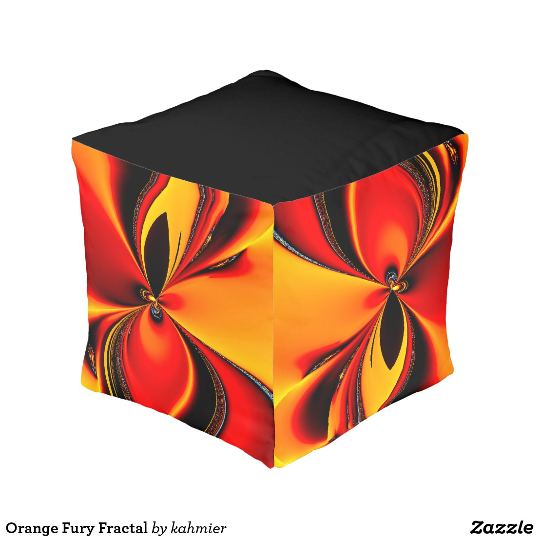 Orange Fury Fractal Pouf
